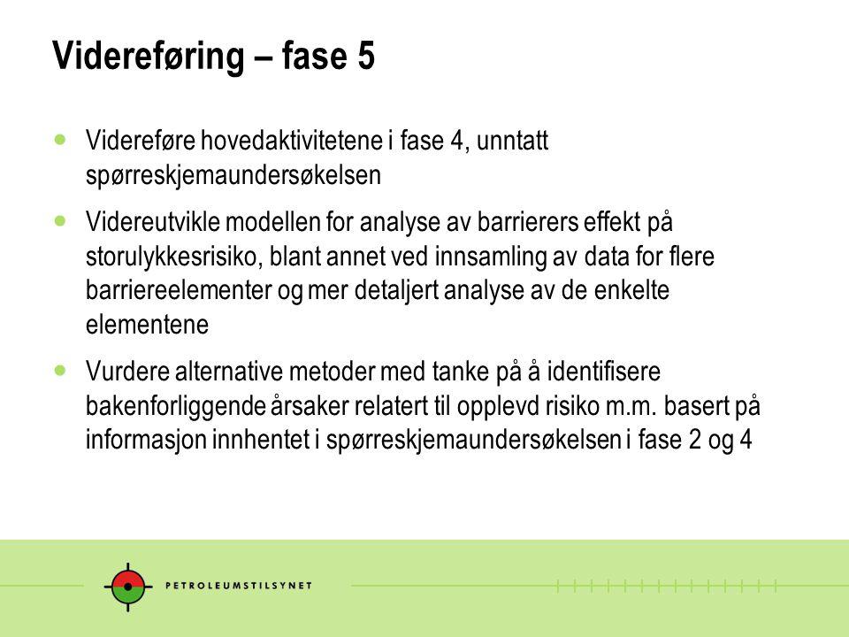Videreføring – fase 5 Videreføre hovedaktivitetene i fase 4, unntatt spørreskjemaundersøkelsen Videreutvikle modellen for analyse av barrierers effekt på storulykkesrisiko, blant annet ved innsamling av data for flere barriereelementer og mer detaljert analyse av de enkelte elementene Vurdere alternative metoder med tanke på å identifisere bakenforliggende årsaker relatert til opplevd risiko m.m.