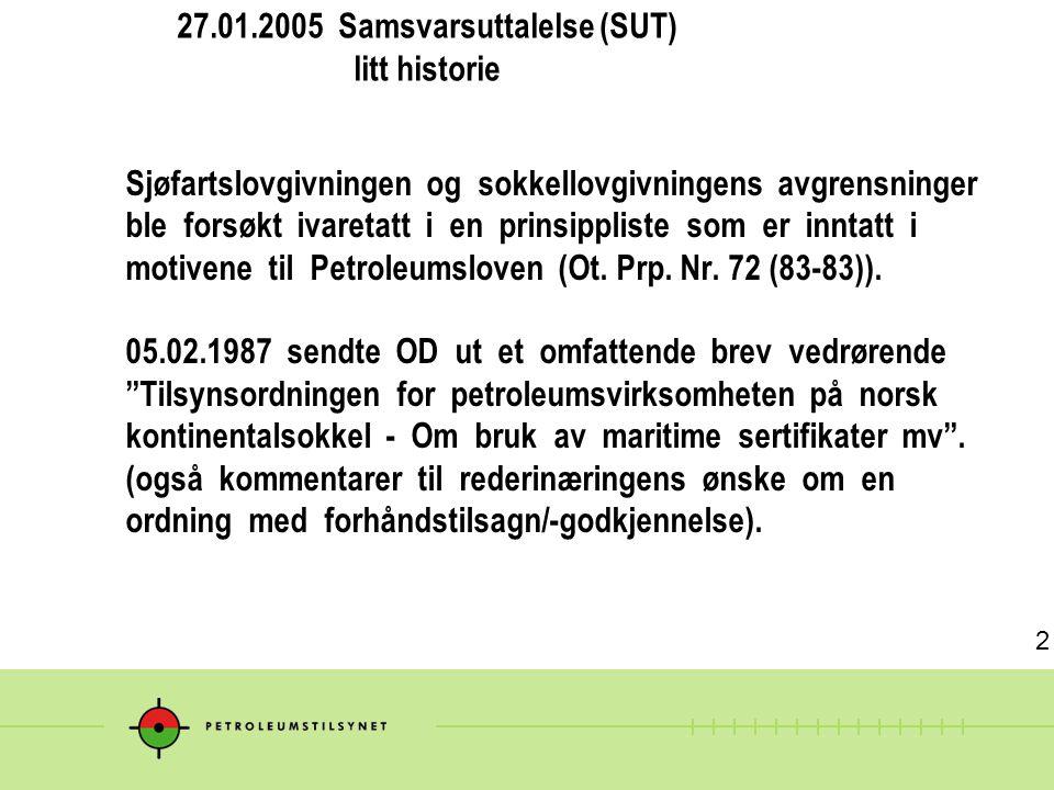27.01.2005 Samsvarsuttalelse (SUT) litt historie Sjøfartslovgivningen og sokkellovgivningens avgrensninger ble forsøkt ivaretatt i en prinsippliste so