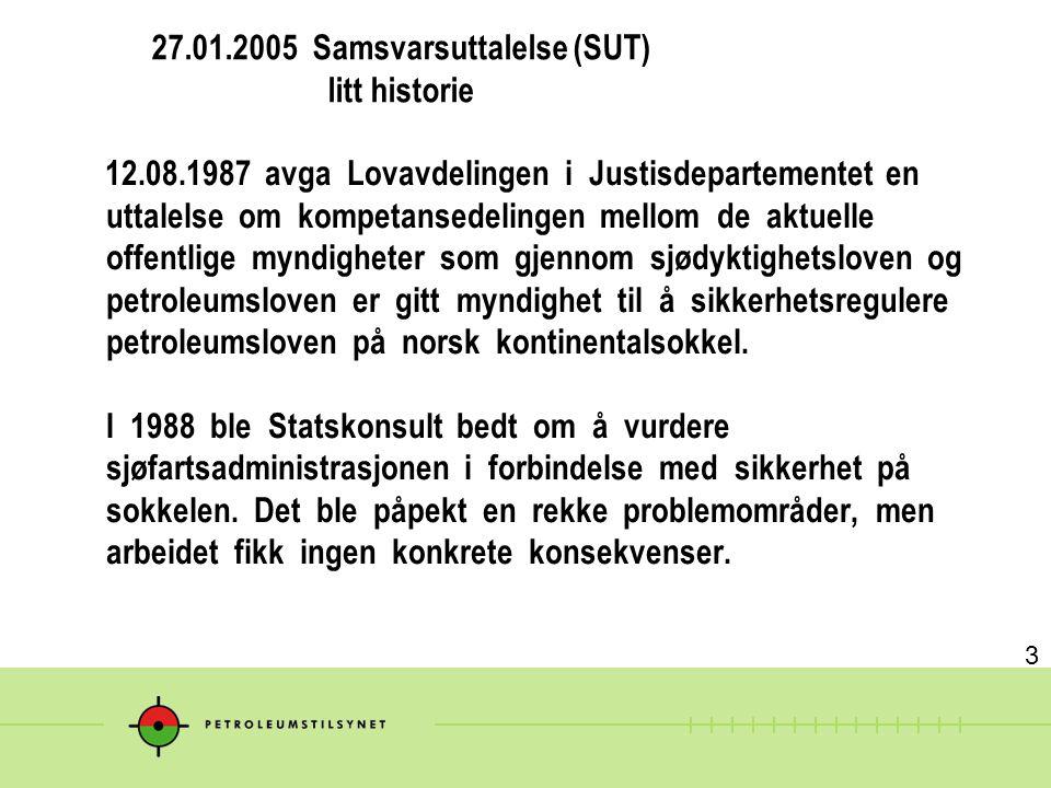 27.01.2005 Samsvarsuttalelse (SUT) litt historie 12.08.1987 avga Lovavdelingen i Justisdepartementet en uttalelse om kompetansedelingen mellom de aktu