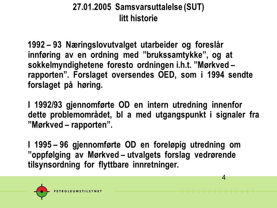 """27.01.2005 Samsvarsuttalelse (SUT) litt historie 1992 – 93 Næringslovutvalget utarbeider og foreslår innføring av en ordning med """"brukssamtykke"""", og a"""