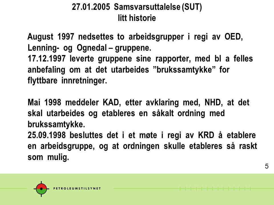 27.01.2005 Samsvarsuttalelse (SUT) litt historie August 1997 nedsettes to arbeidsgrupper i regi av OED, Lenning- og Ognedal – gruppene. 17.12.1997 lev