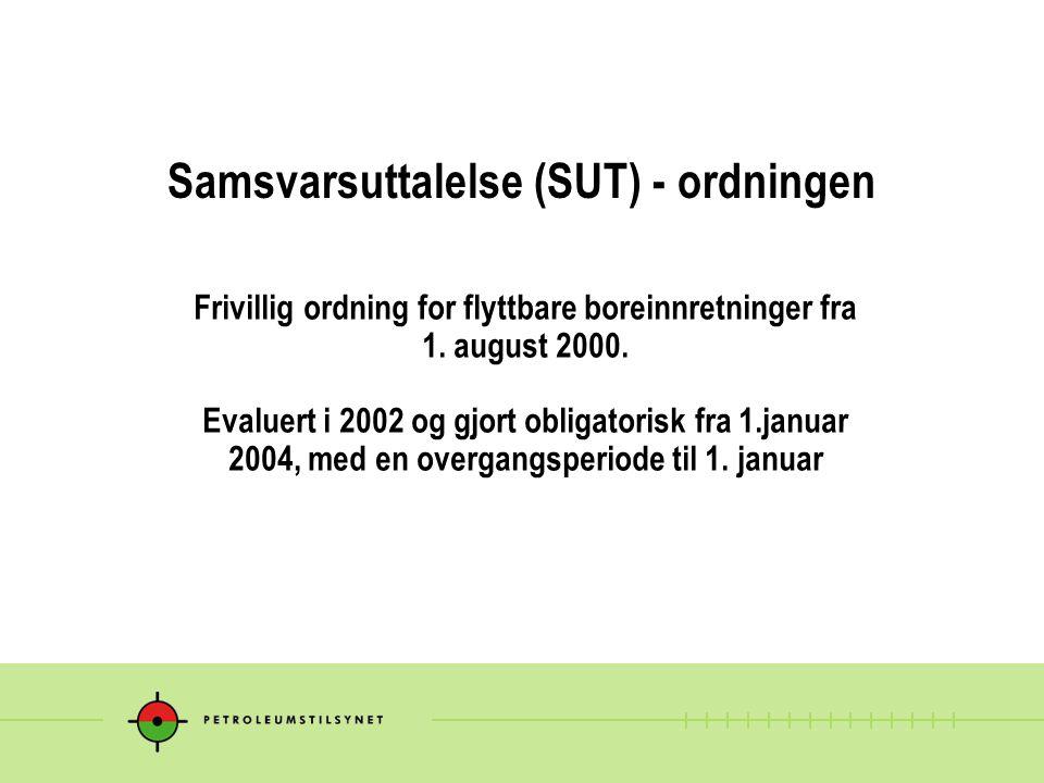 Samsvarsuttalelse (SUT) - ordningen Frivillig ordning for flyttbare boreinnretninger fra 1. august 2000. Evaluert i 2002 og gjort obligatorisk fra 1.j