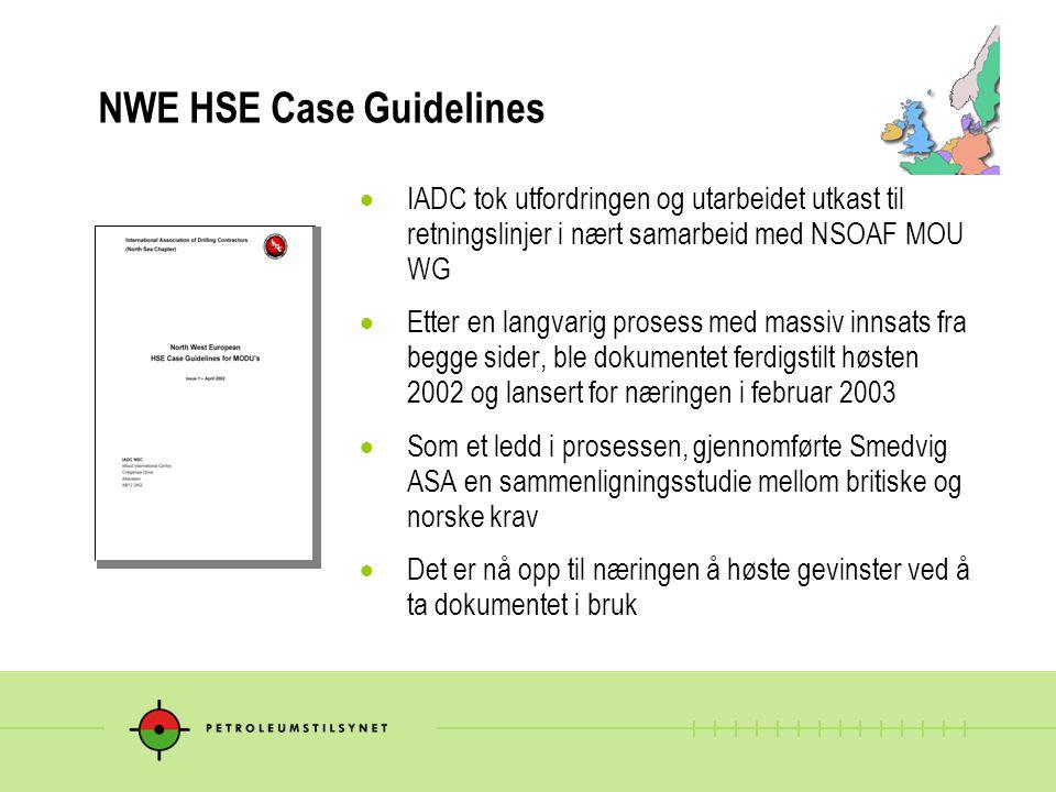  IADC tok utfordringen og utarbeidet utkast til retningslinjer i nært samarbeid med NSOAF MOU WG  Etter en langvarig prosess med massiv innsats fra