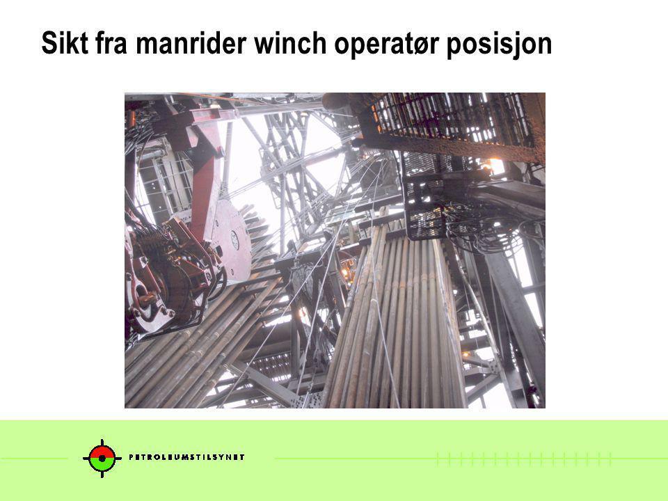 Hendelsesforløp (forenklet) Boredekksarbeider ble løftet opp i boretårn i ridebelte for å åpne manuell elevator Tool box talk pr.