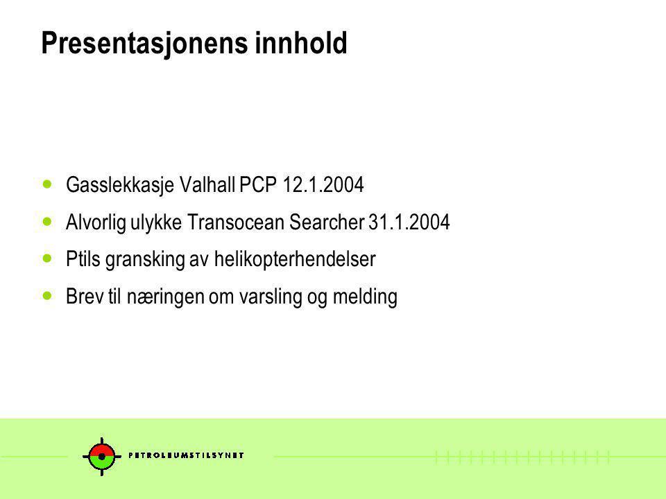 Gasslekkasje Valhall PCP 12.1.2004