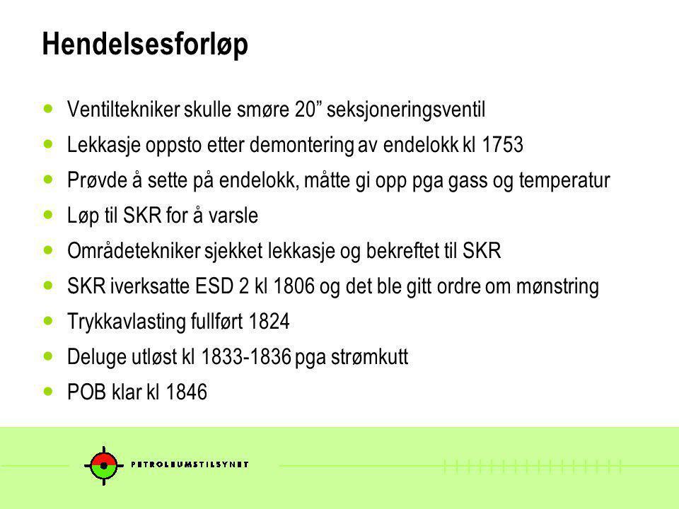 Konsekvenser Ingen personskader Utslipp beregnet til 0,018 kg/s Tapt produksjon