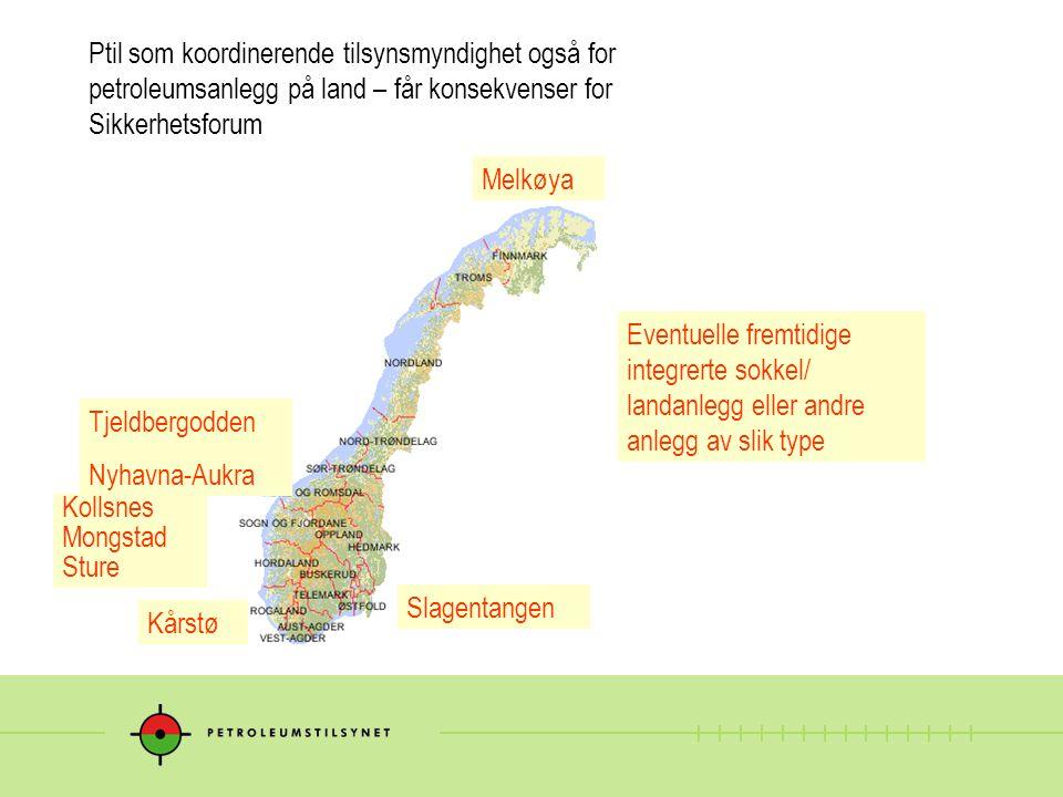 Melkøya Tjeldbergodden Nyhavna-Aukra Kollsnes Mongstad Sture Kårstø Slagentangen Eventuelle fremtidige integrerte sokkel/ landanlegg eller andre anleg