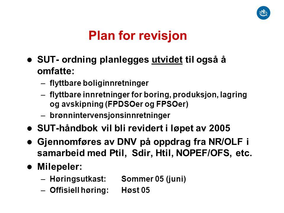 Plan for revisjon SUT- ordning planlegges utvidet til også å omfatte: –flyttbare boliginnretninger –flyttbare innretninger for boring, produksjon, lag