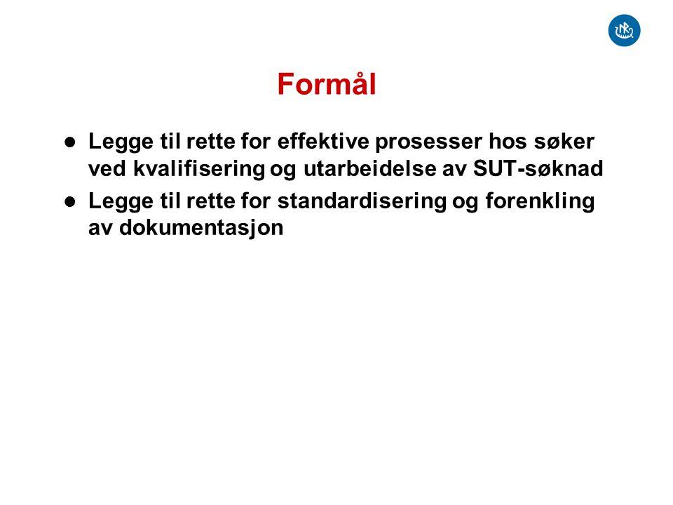 Formål Legge til rette for effektive prosesser hos søker ved kvalifisering og utarbeidelse av SUT-søknad Legge til rette for standardisering og forenk
