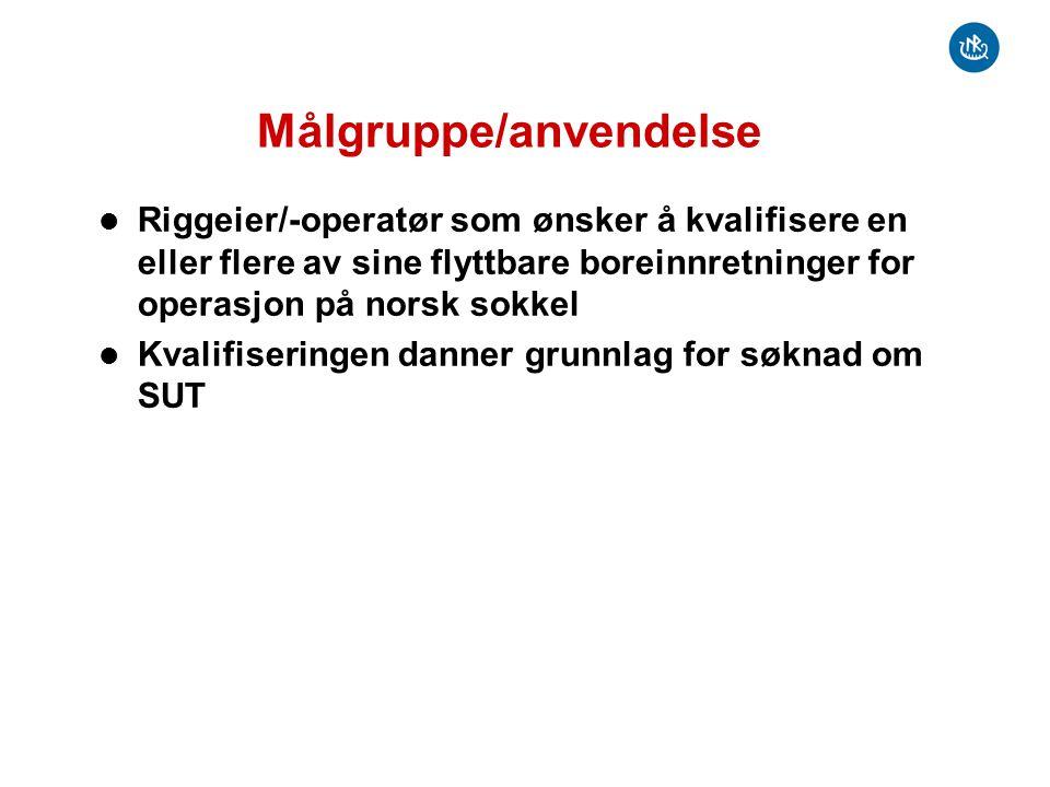 Målgruppe/anvendelse Riggeier/-operatør som ønsker å kvalifisere en eller flere av sine flyttbare boreinnretninger for operasjon på norsk sokkel Kvali
