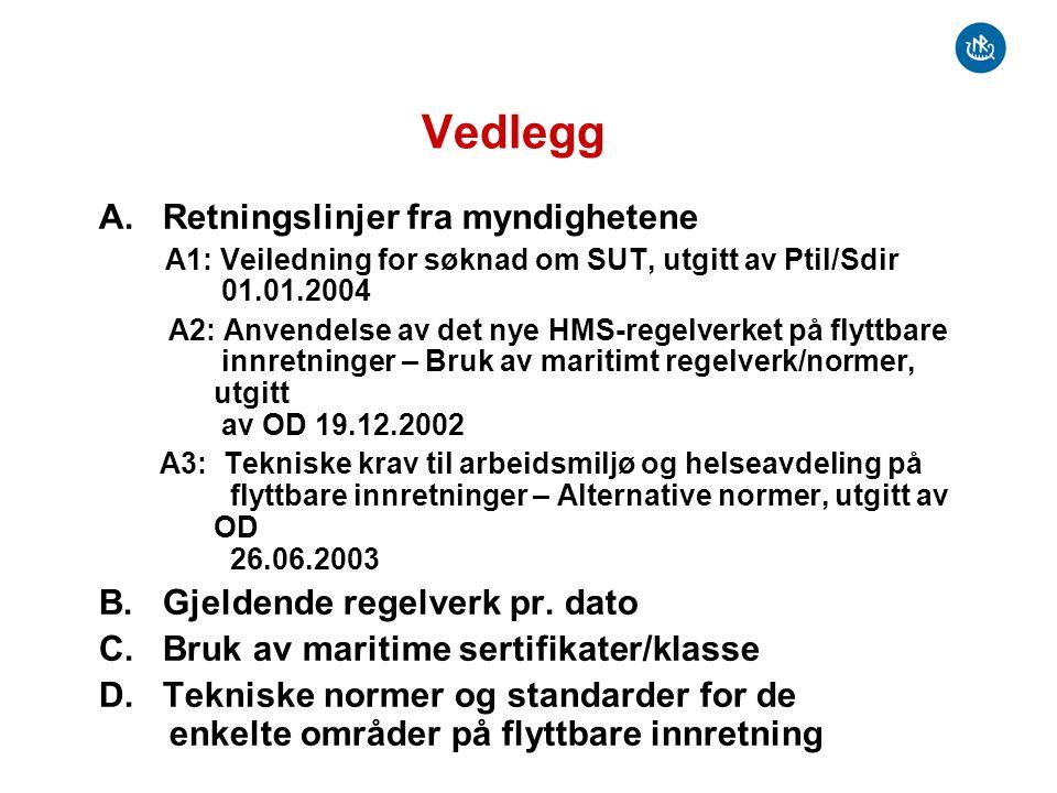 Vedlegg D Tekniske normer og standarder Systematisk gjennomgang av aktuelle krav, standarder og normer som kan komme til anvendelse For hvert område er det tatt stilling til : –Hvilke Ptil forskriftskrav som gjelder –Hvilke anerkjente normer som gjelder (NORSOK, DNV Offshore standards, ISO, IMO, etc.) –Om det er direkte referanse til Sdir (Ja/Nei) Hvis Ja , referanse til aktuelle §§ i Sdir regelverk –Om § 3 I RF kan anvendes.