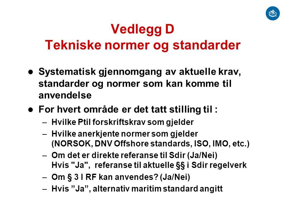 Vedlegg D Tekniske normer og standarder Systematisk gjennomgang av aktuelle krav, standarder og normer som kan komme til anvendelse For hvert område e