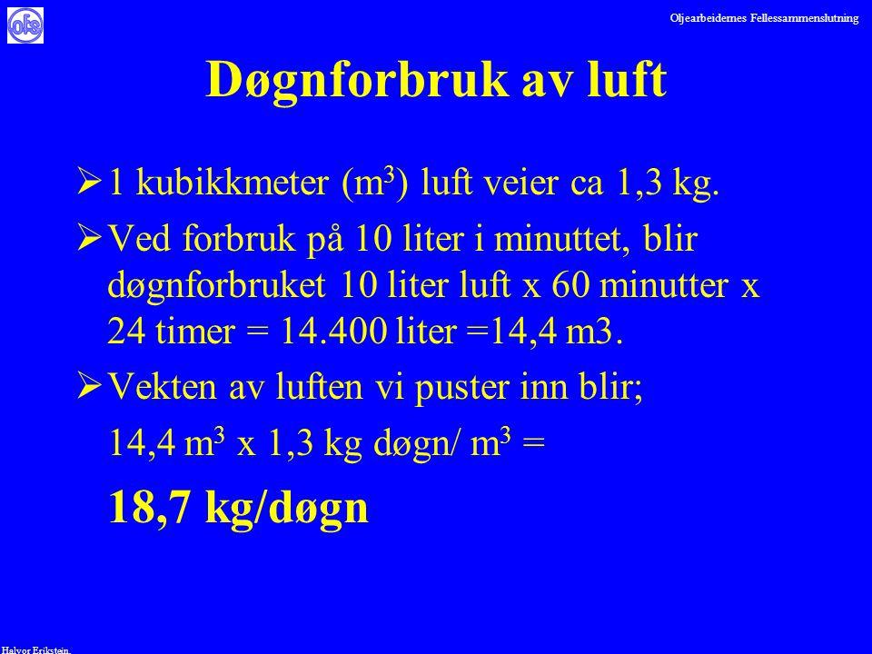 Oljearbeidernes Fellessammenslutning Halvor Erikstein, Døgnforbruk av luft  1 kubikkmeter (m 3 ) luft veier ca 1,3 kg.  Ved forbruk på 10 liter i mi