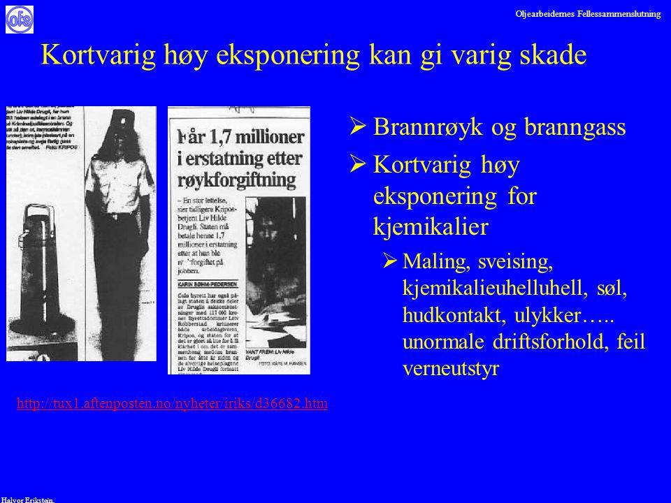 Oljearbeidernes Fellessammenslutning Halvor Erikstein, Kortvarig høy eksponering kan gi varig skade  Brannrøyk og branngass  Kortvarig høy eksponeri