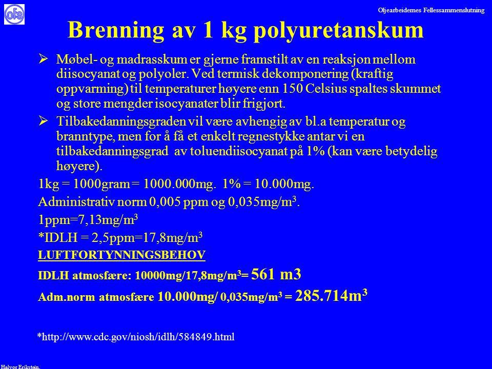 Oljearbeidernes Fellessammenslutning Halvor Erikstein, Brenning av 1 kg polyuretanskum  Møbel- og madrasskum er gjerne framstilt av en reaksjon mello