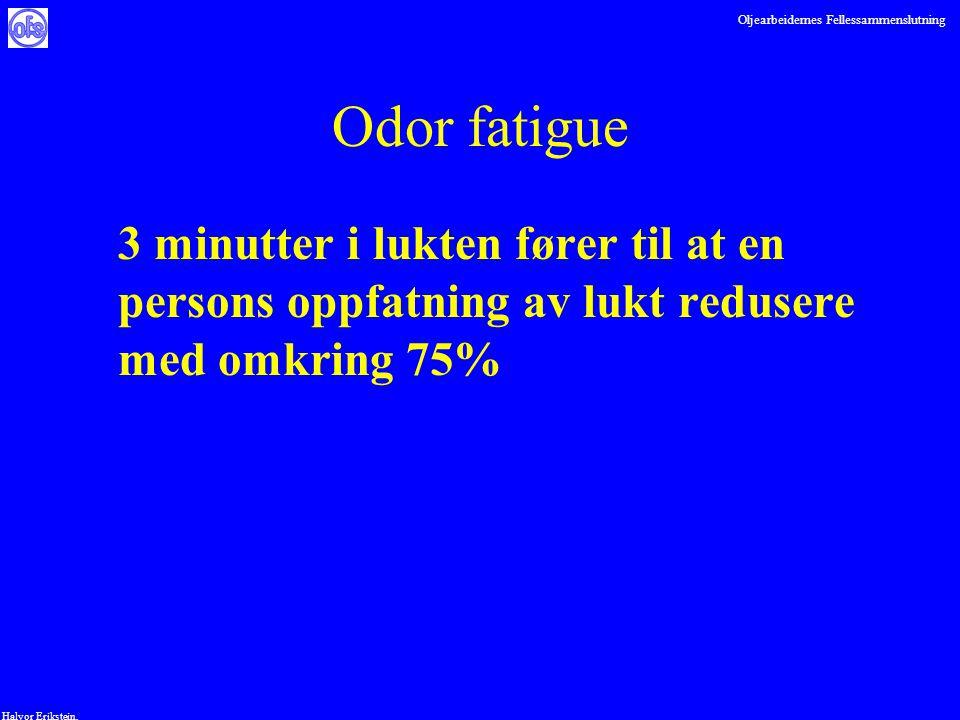 Oljearbeidernes Fellessammenslutning Halvor Erikstein, Odor fatigue 3 minutter i lukten fører til at en persons oppfatning av lukt redusere med omkrin