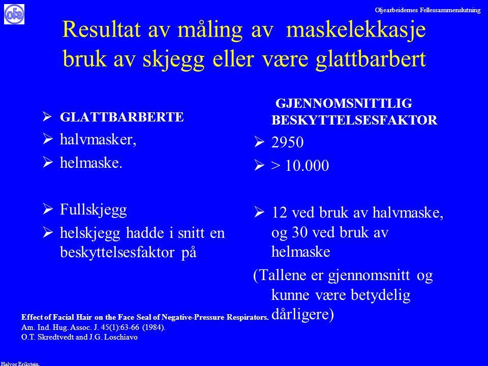 Oljearbeidernes Fellessammenslutning Halvor Erikstein, Resultat av måling av maskelekkasje bruk av skjegg eller være glattbarbert  GLATTBARBERTE  ha