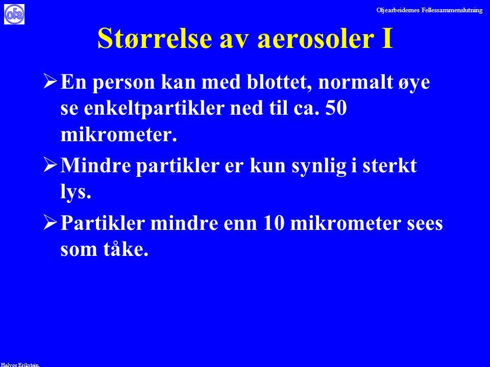 Oljearbeidernes Fellessammenslutning Halvor Erikstein, Størrelse av aerosoler I  En person kan med blottet, normalt øye se enkeltpartikler ned til ca