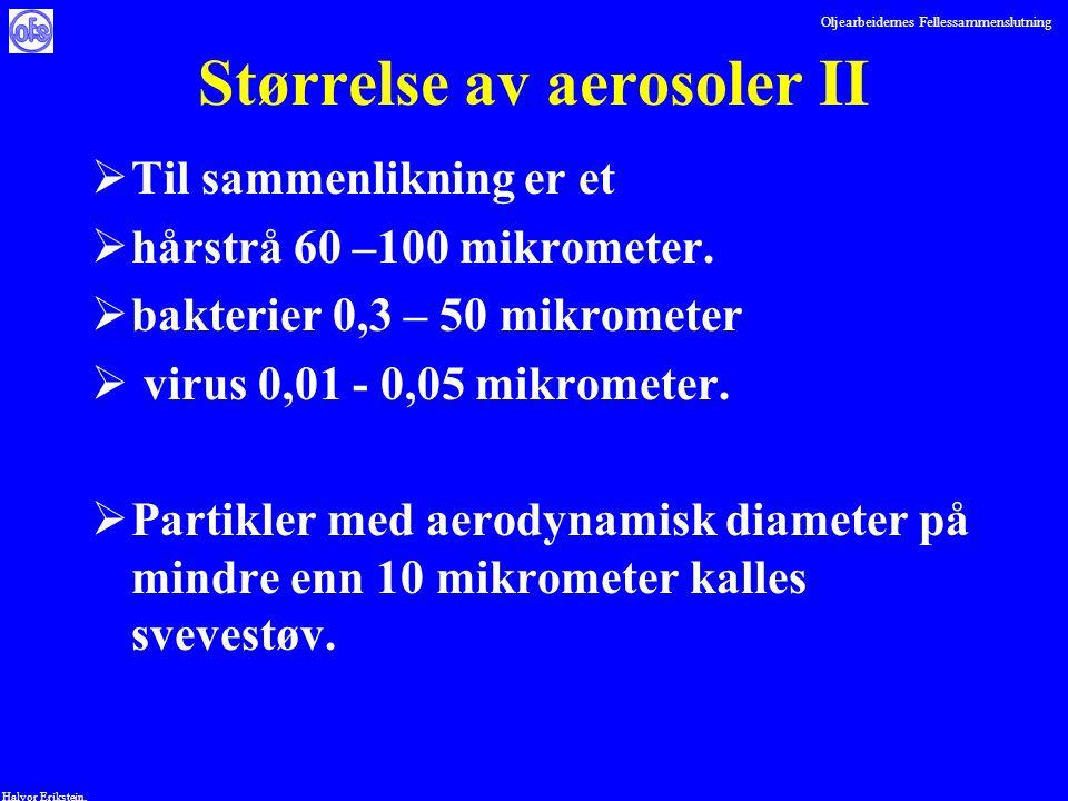 Oljearbeidernes Fellessammenslutning Halvor Erikstein, Størrelse av aerosoler II  Til sammenlikning er et  hårstrå 60 –100 mikrometer.  bakterier 0