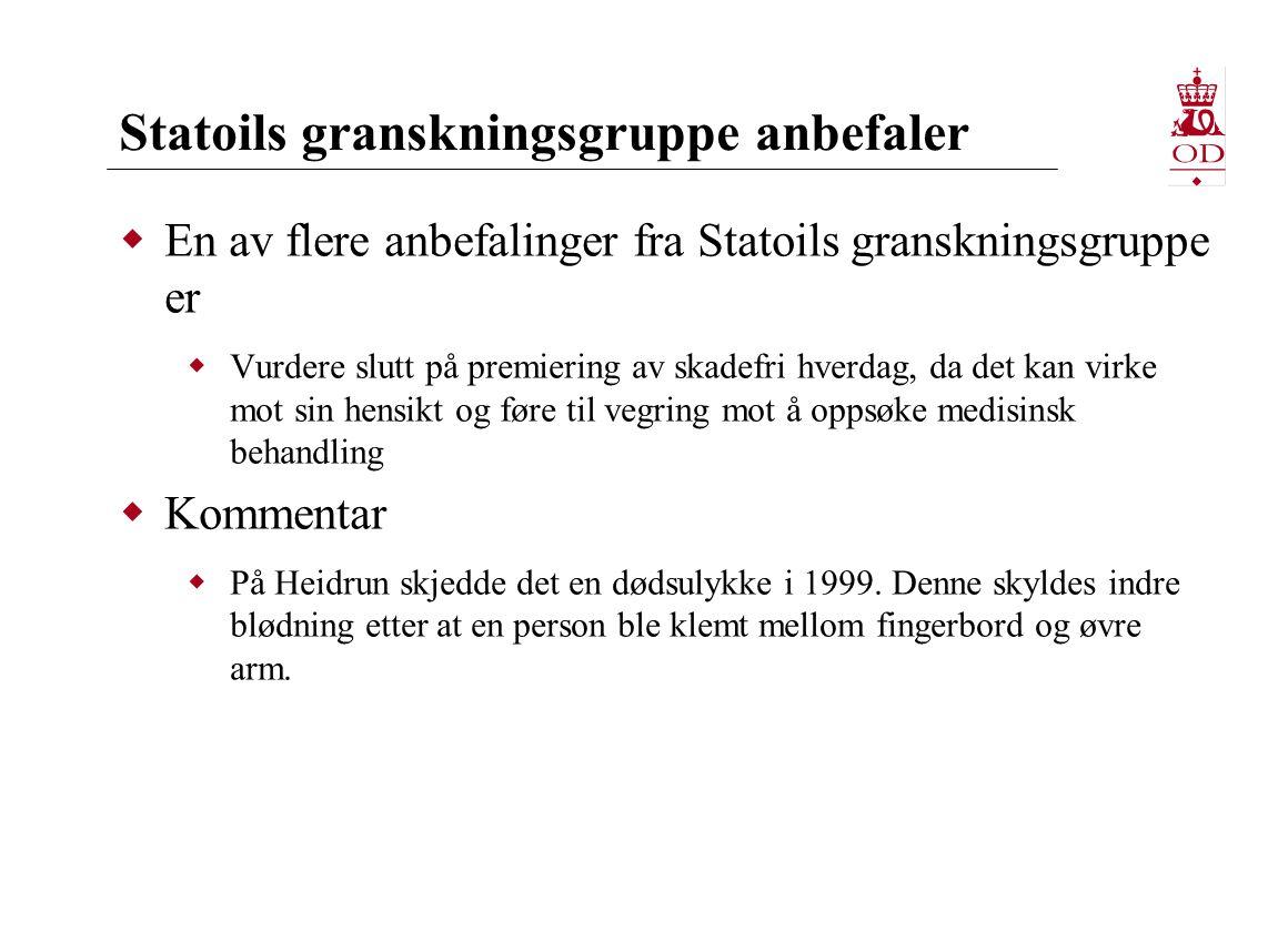 Statoils granskningsgruppe anbefaler  En av flere anbefalinger fra Statoils granskningsgruppe er  Vurdere slutt på premiering av skadefri hverdag, da det kan virke mot sin hensikt og føre til vegring mot å oppsøke medisinsk behandling  Kommentar  På Heidrun skjedde det en dødsulykke i 1999.