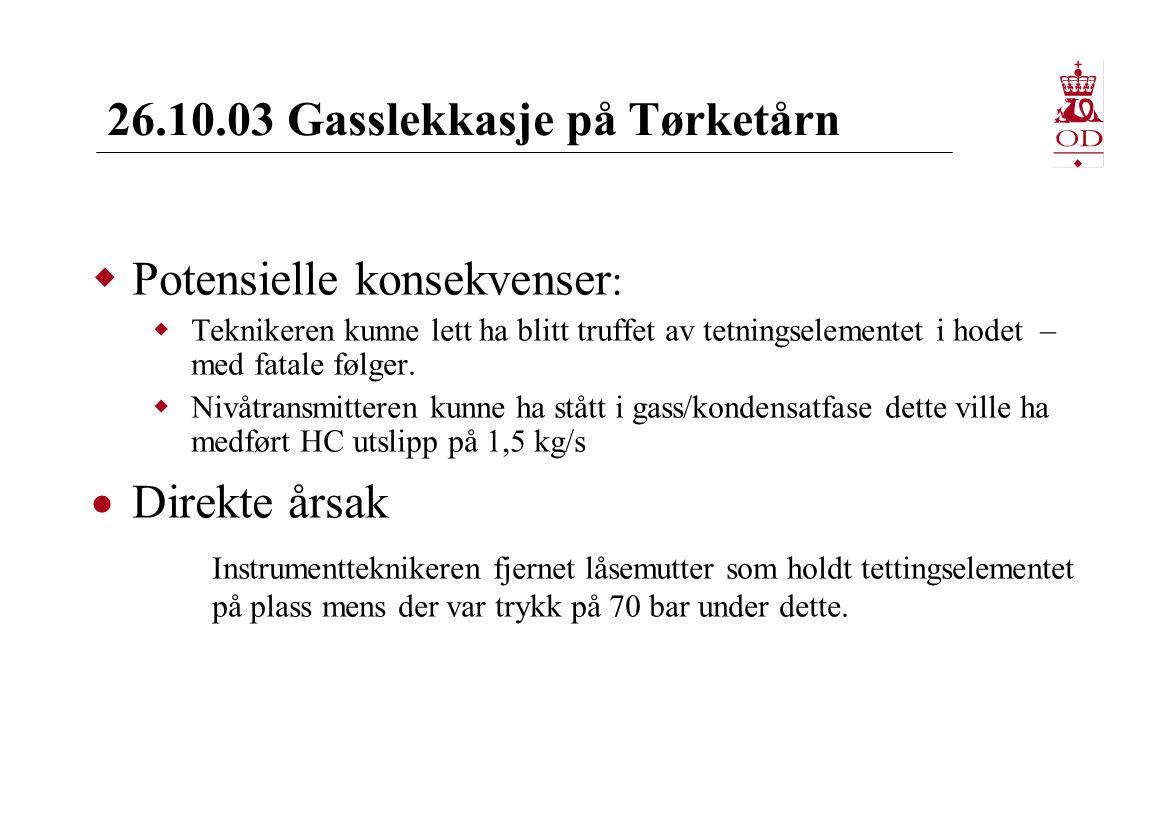 26.10.03 Gasslekkasje på Tørketårn  Potensielle konsekvenser :  Teknikeren kunne lett ha blitt truffet av tetningselementet i hodet – med fatale følger.