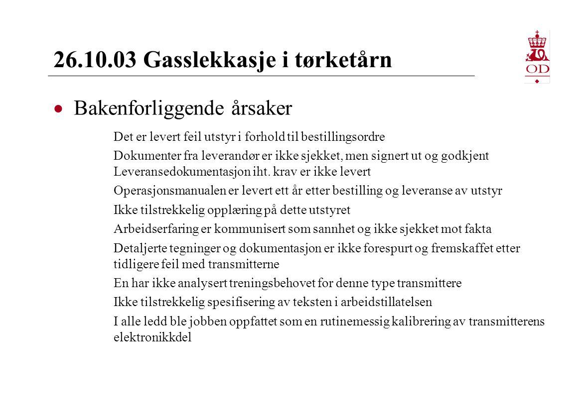 26.10.03 Gasslekkasje i tørketårn  Bakenforliggende årsaker Det er levert feil utstyr i forhold til bestillingsordre Dokumenter fra leverandør er ikke sjekket, men signert ut og godkjent Leveransedokumentasjon iht.