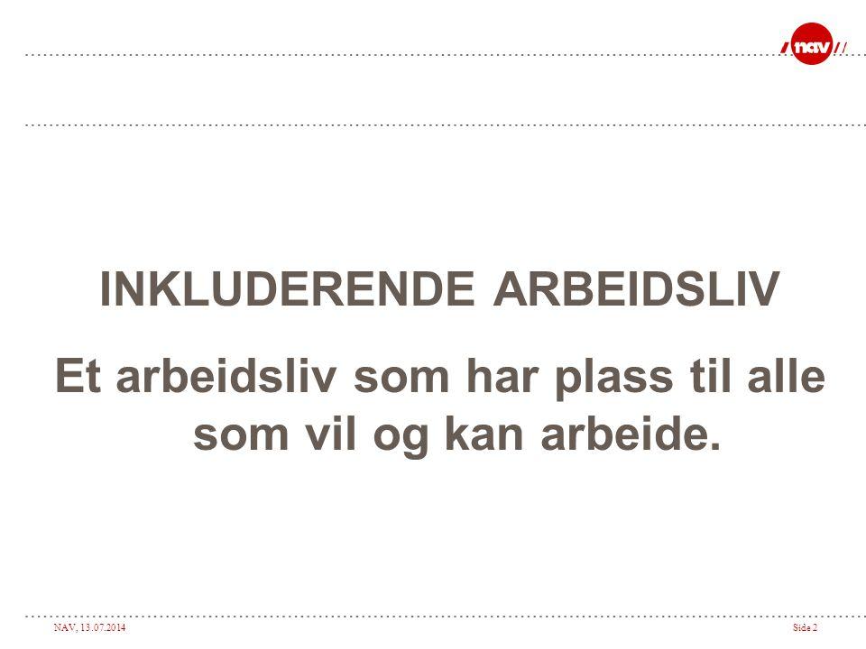 NAV, 13.07.2014Side 3 Roller i det inkluderende arbeidsliv ArbeidstakerArbeidsgiver Hovedaktører NAV trygd LegeneBHT m.fl.