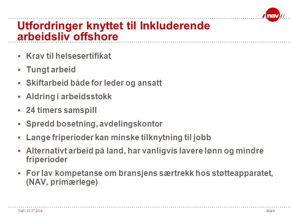 NAV, 13.07.2014Side 6 Utfordringer knyttet til Inkluderende arbeidsliv offshore  Krav til helsesertifikat  Tungt arbeid  Skiftarbeid både for leder