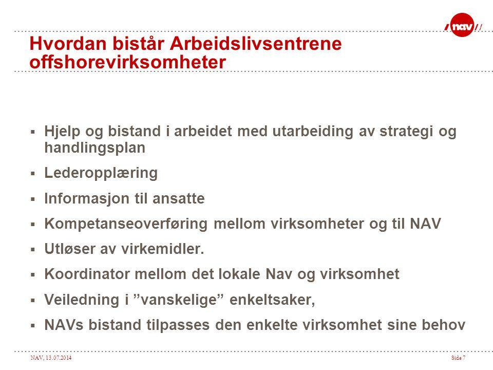 NAV, 13.07.2014Side 7 Hvordan bistår Arbeidslivsentrene offshorevirksomheter  Hjelp og bistand i arbeidet med utarbeiding av strategi og handlingspla