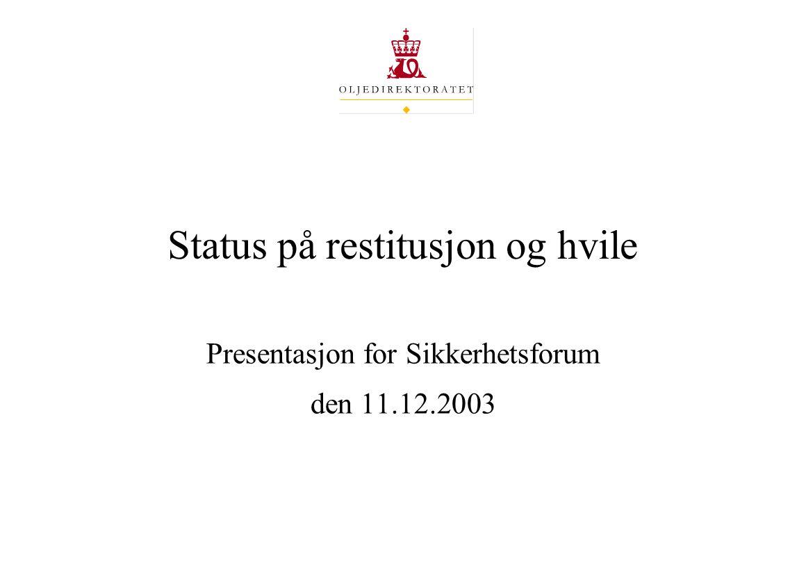 Status på restitusjon og hvile Presentasjon for Sikkerhetsforum den 11.12.2003