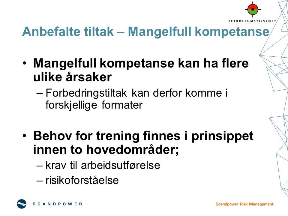 Anbefalte tiltak – Mangelfull kompetanse Mangelfull kompetanse kan ha flere ulike årsaker –Forbedringstiltak kan derfor komme i forskjellige formater