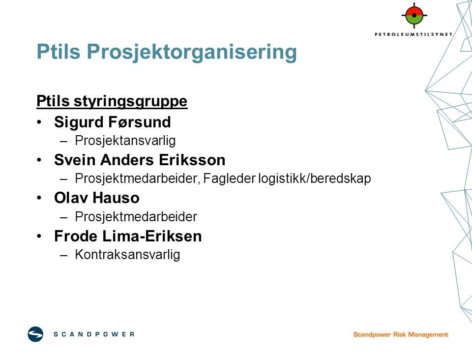 Ptils Prosjektorganisering Ptils styringsgruppe Sigurd Førsund –Prosjektansvarlig Svein Anders Eriksson –Prosjektmedarbeider, Fagleder logistikk/bered