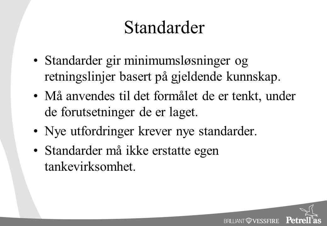 Standarder Standarder gir minimumsløsninger og retningslinjer basert på gjeldende kunnskap. Må anvendes til det formålet de er tenkt, under de forutse