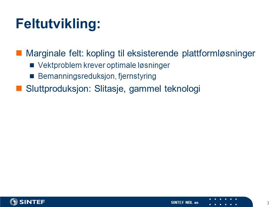 SINTEF NBL as 3 Feltutvikling: Marginale felt: kopling til eksisterende plattformløsninger Vektproblem krever optimale løsninger Bemanningsreduksjon, fjernstyring Sluttproduksjon: Slitasje, gammel teknologi