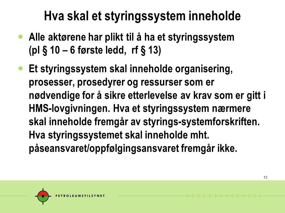 13 Hva skal et styringssystem inneholde Alle aktørene har plikt til å ha et styringssystem (pl § 10 – 6 første ledd, rf § 13) Et styringssystem skal i
