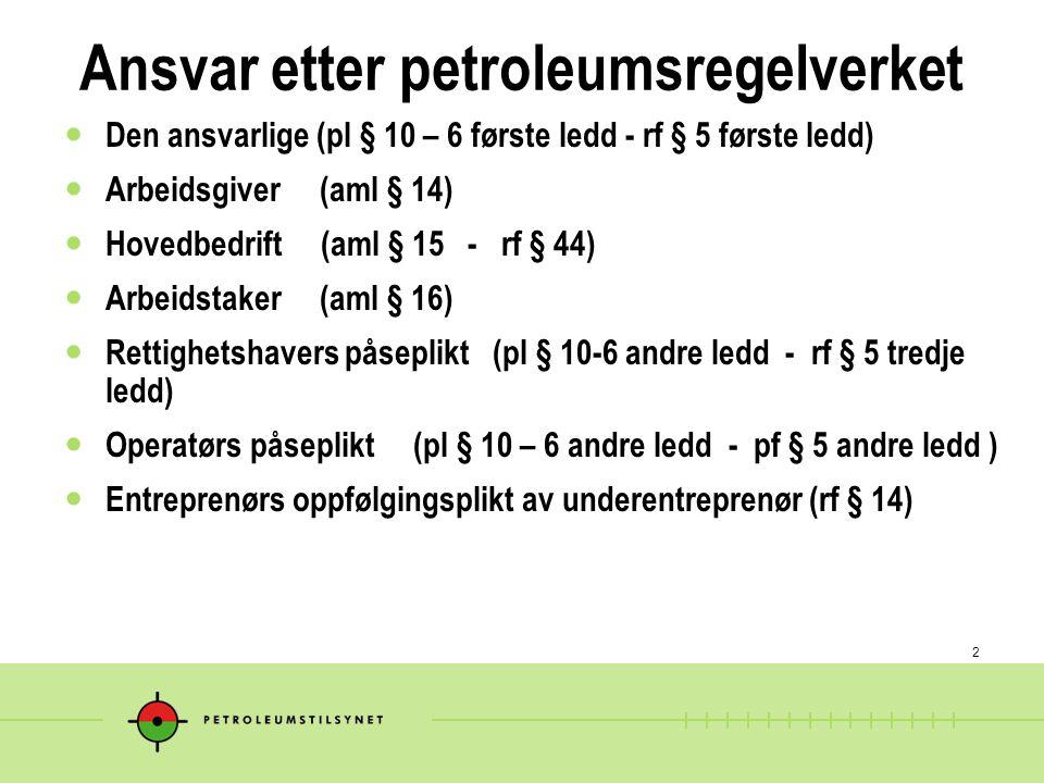 2 Ansvar etter petroleumsregelverket Den ansvarlige (pl § 10 – 6 første ledd - rf § 5 første ledd) Arbeidsgiver (aml § 14) Hovedbedrift (aml § 15 - rf