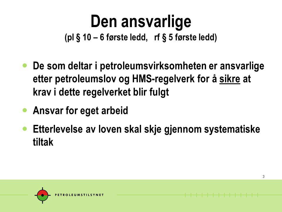 3 Den ansvarlige (pl § 10 – 6 første ledd, rf § 5 første ledd) De som deltar i petroleumsvirksomheten er ansvarlige etter petroleumslov og HMS-regelve