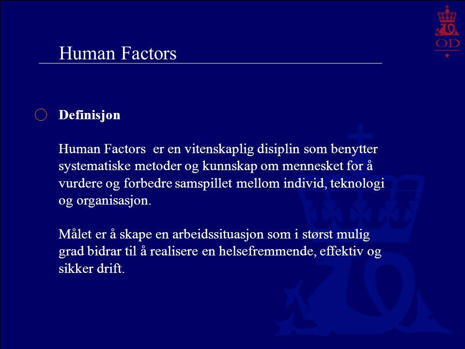 Human Factors Definisjon Human Factors er en vitenskaplig disiplin som benytter systematiske metoder og kunnskap om mennesket for å vurdere og forbedr