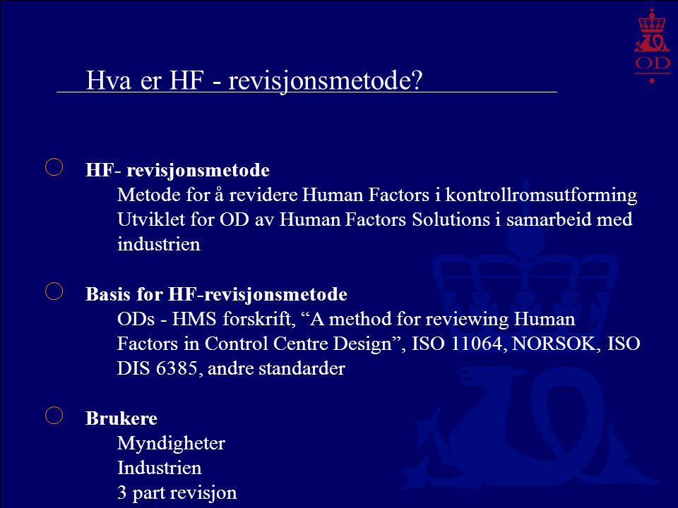 Hva er HF - revisjonsmetode? HF- revisjonsmetode Metode for å revidere Human Factors i kontrollromsutforming Utviklet for OD av Human Factors Solution