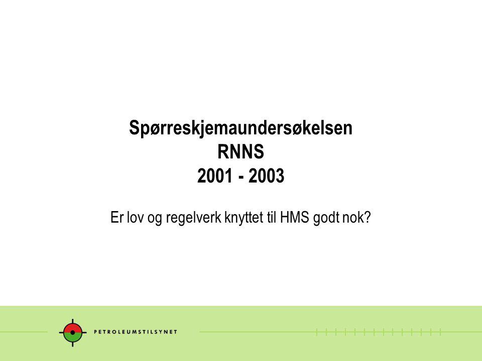 Spørreskjemaundersøkelsen RNNS 2001 - 2003 Er lov og regelverk knyttet til HMS godt nok?