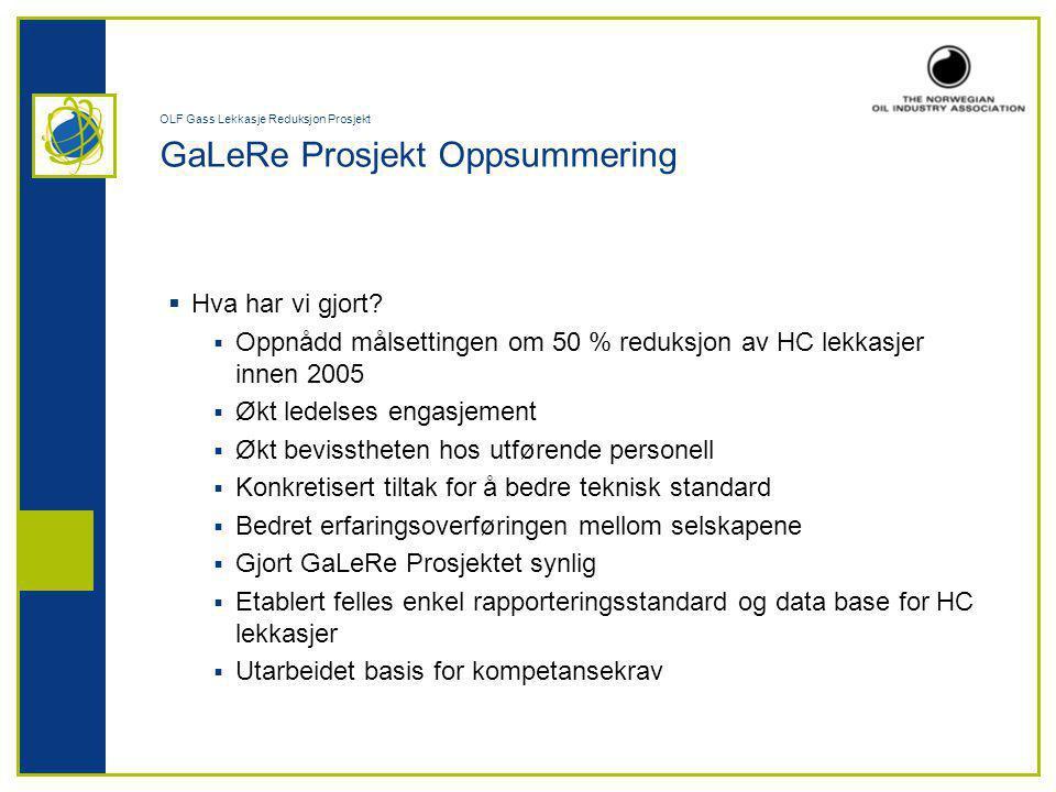 OLF Gass Lekkasje Reduksjon Prosjekt GaLeRe Prosjekt Oppsummering  Hva har vi gjort.