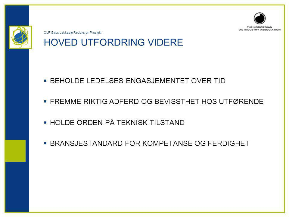 OLF Gass Lekkasje Reduksjon Prosjekt HOVED UTFORDRING VIDERE  BEHOLDE LEDELSES ENGASJEMENTET OVER TID  FREMME RIKTIG ADFERD OG BEVISSTHET HOS UTFØRENDE  HOLDE ORDEN PÅ TEKNISK TILSTAND  BRANSJESTANDARD FOR KOMPETANSE OG FERDIGHET