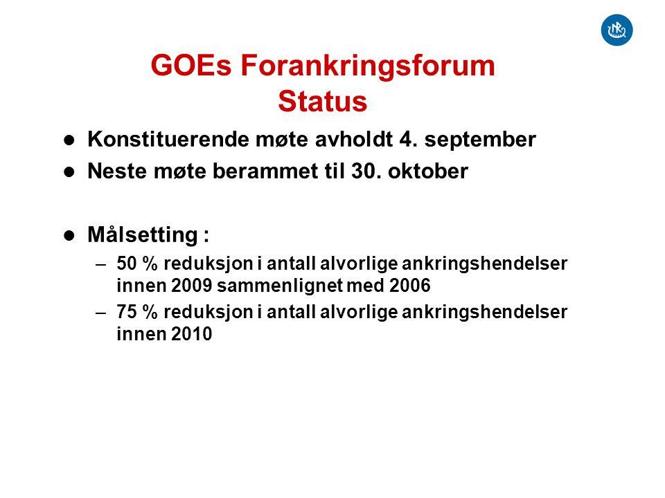 GOEs Forankringsforum Status Konstituerende møte avholdt 4.