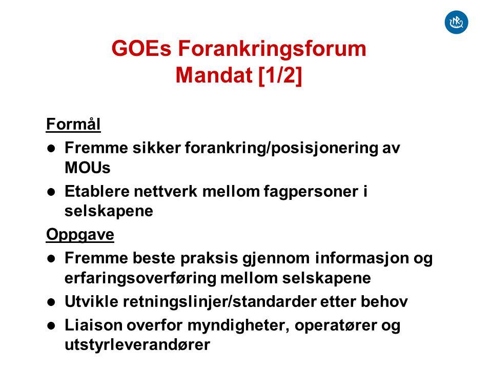 GOEs Forankringsforum Mandat [2/2] Organisering Etableres med en egen leder/sekretær fra selskapene Deltakere er GOE medlemmer med flyttbare innretninger på norsk sokkel Aktiviteter Regelmessige møter (hver 2.