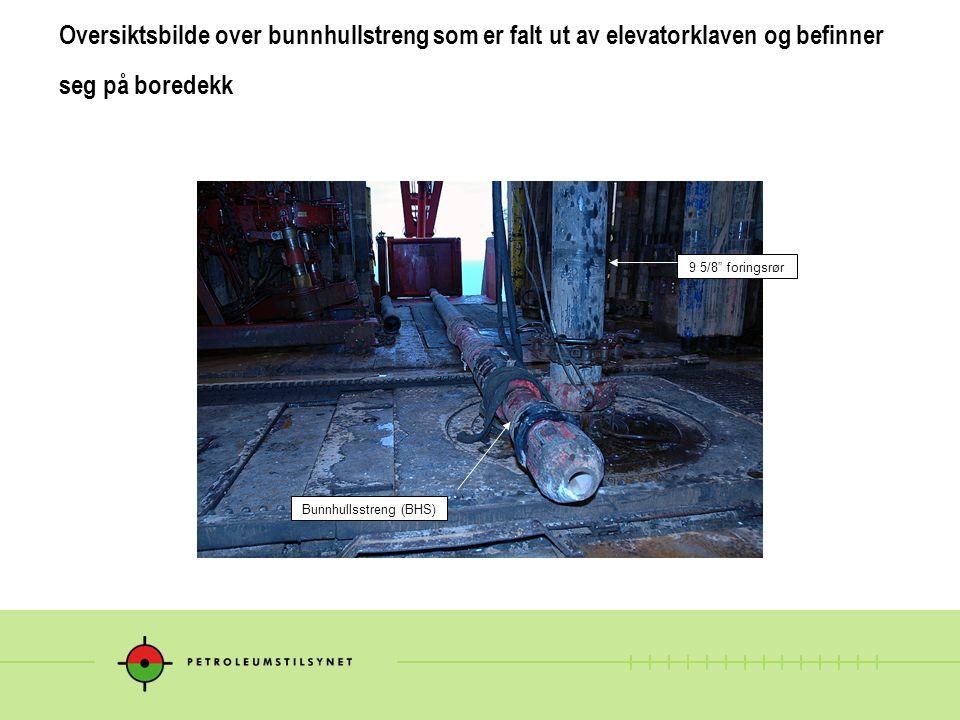 """Oversiktsbilde over bunnhullstreng som er falt ut av elevatorklaven og befinner seg på boredekk Bunnhullsstreng (BHS) 9 5/8"""" foringsrør"""