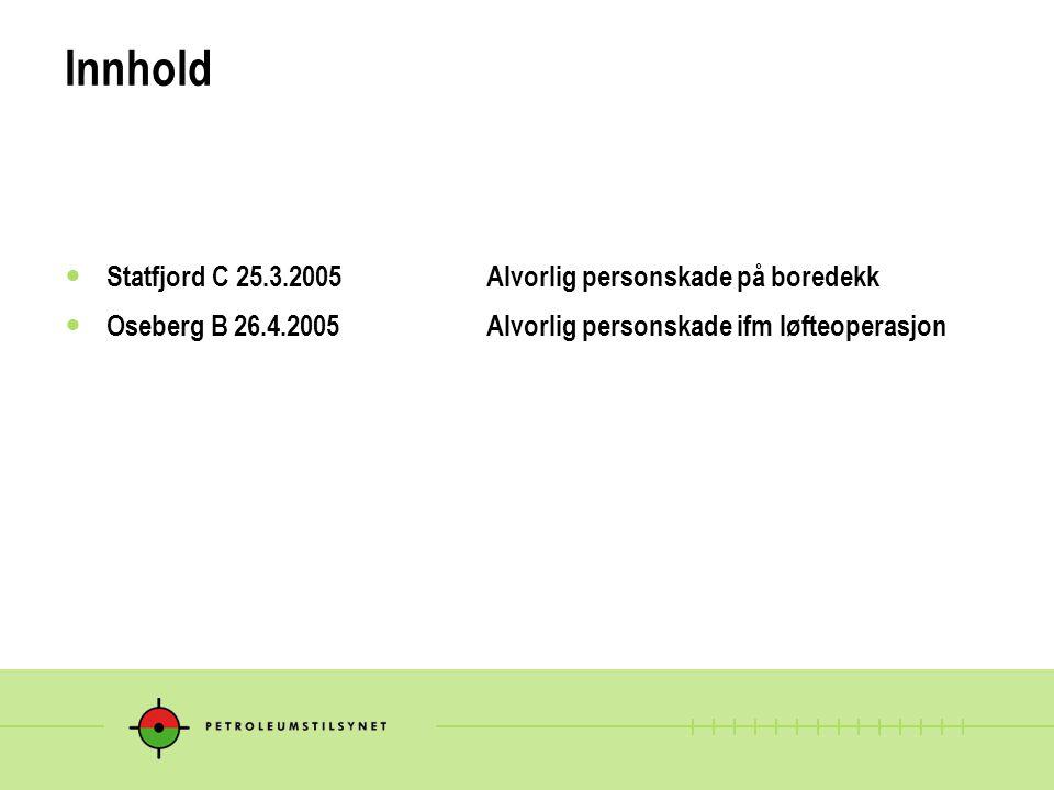 Andre alvorlige hendelser i perioden Transocean Arctic 13.2.05ankerkjetting falt på havbunnsutstyr Norne Transocean Arctic7.3.05slange falt ned på boredekk Ekofisk C28.3.05kranbom falt ukontrollert Stena Dee10.4.05alvorlig nestenulykke ifm løfting Nyhamna13.5.05120 t mobilkran veltet under løfteoperasjon Kårstø18.5.05 person klemt mellom bil og container Ocean Carrier2.6.05kollisjon mellom fartøy og gangbro
