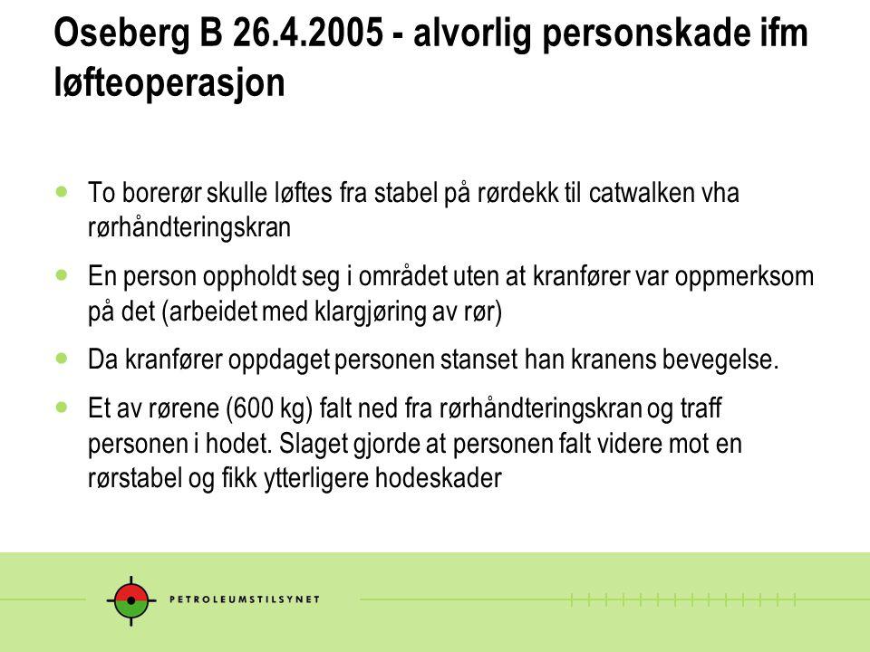 Oseberg B 26.4.2005 - alvorlig personskade ifm løfteoperasjon To borerør skulle løftes fra stabel på rørdekk til catwalken vha rørhåndteringskran En p