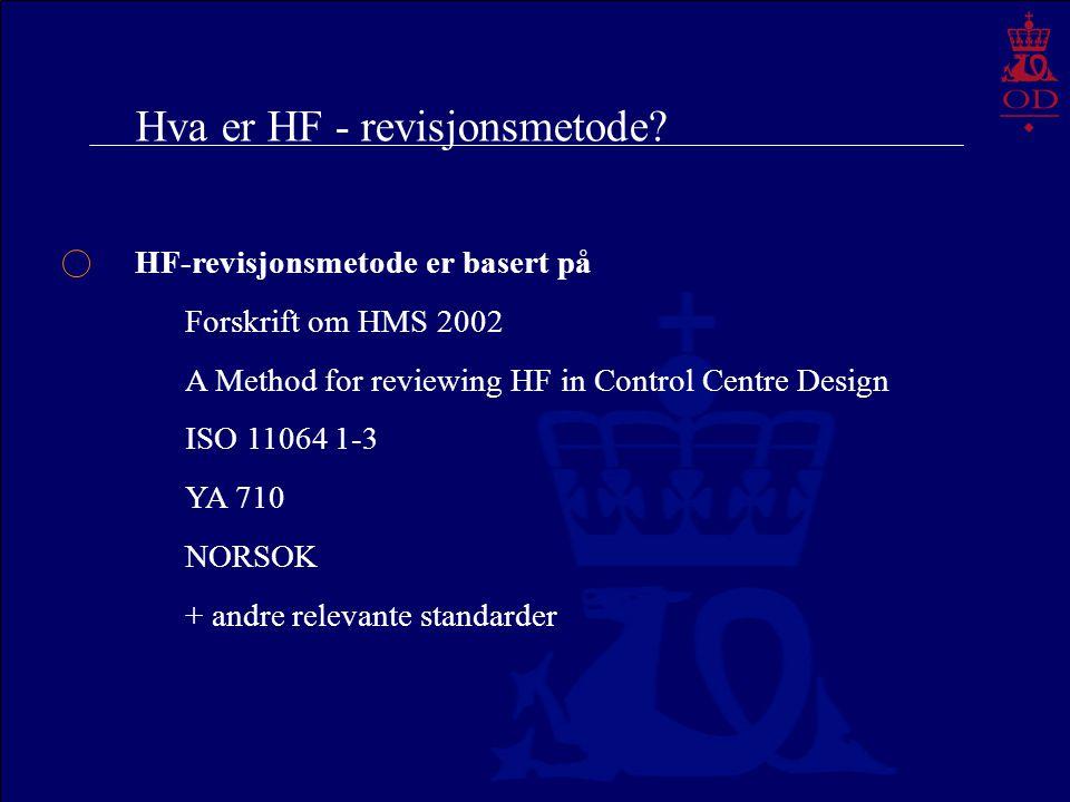 Hva er HF - revisjonsmetode? HF-revisjonsmetode er basert på Forskrift om HMS 2002 A Method for reviewing HF in Control Centre Design ISO 11064 1-3 YA