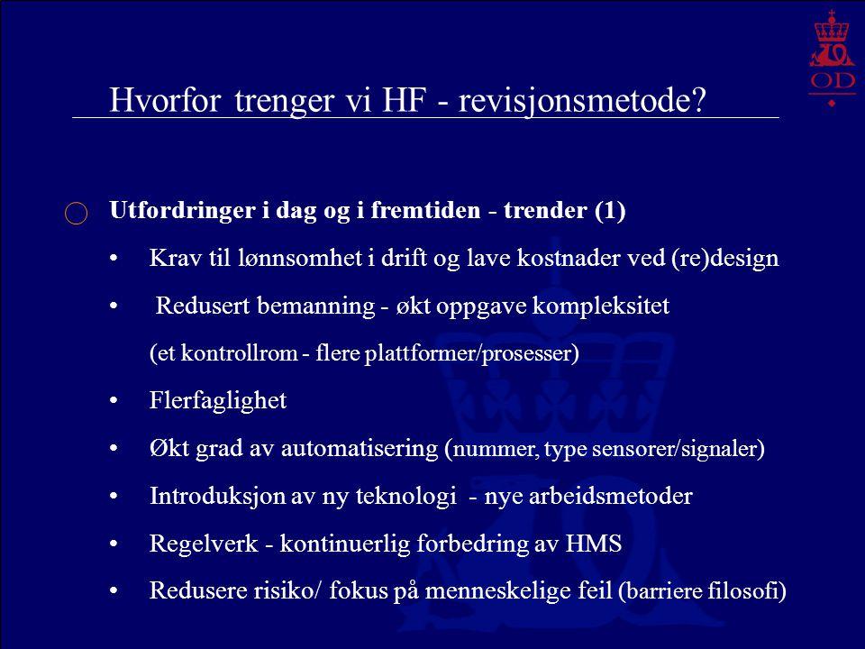 Hvorfor trenger vi HF - revisjonsmetode? Utfordringer i dag og i fremtiden - trender (1) Krav til lønnsomhet i drift og lave kostnader ved (re)design