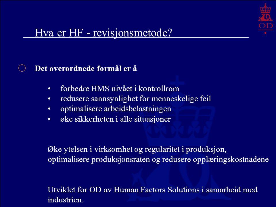 Hva er HF - revisjonsmetode? Det overordnede formål er å forbedre HMS nivået i kontrollrom redusere sannsynlighet for menneskelige feil optimalisere a